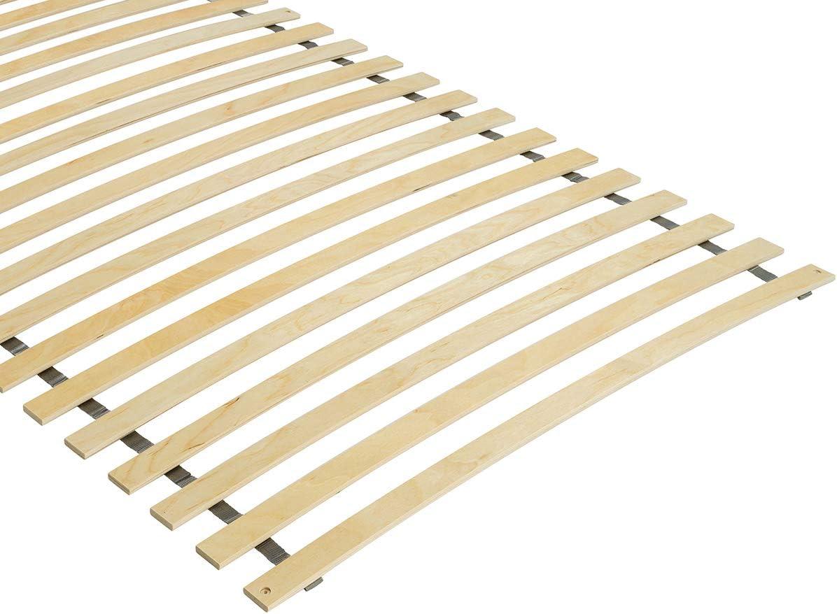 gerollt und fertig montiert geeignet f/ür alle Matratzen BMM Rollrost Premium mit 28 gebogenen Federholzleisten optionaler Fixierung