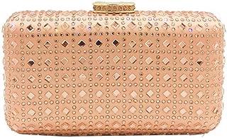 LVfenghe Ladies Banquet Luxury Smooth Diamond Evening Gift Bag Bride Dress Square Clutch Bag Lattice Metal Chain Shoulder Messenger Bag Wallet Size: 18 * 5 * 10.5cm (Color : Champagne)