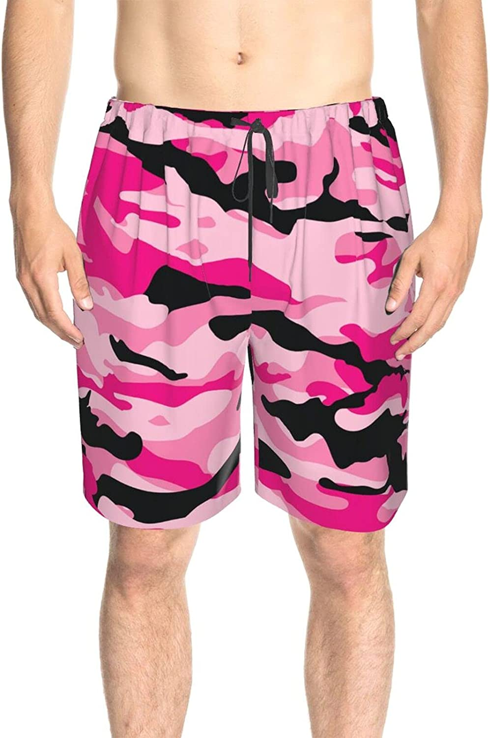 JINJUELS Mens Bathing Suits Pink Black Marble Print Swim Short Boardshort Quick Dry Comfy Athletic Beach Short with Lining