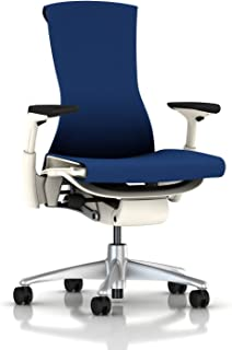 Herman Miller Embody Ergonomic Office Chair with White Frame/Titanium Base | Fully Adjustable Arms and Carpet Casters | Berry Blue Rhythm