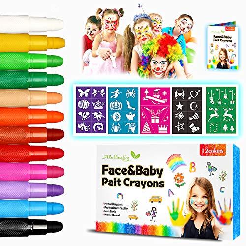 Pinturas Cara para Niños-Alotlucky 12 Colores Pinturas Faciales y Corporales, Pintura Facial...
