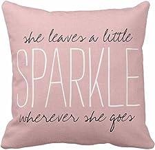 Emvency Throw Pillow Cover Cute Burlap Pink Sparkle Monogram Decorative Pillow Case Home..