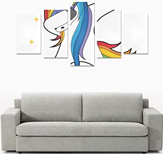 Liaosax Canvas Print Wall Canvas Art Printing Dabbing Unicorn Dab Dancing Fashion No Frame 5 Pieces Paintings Posters Prints On Canvas Hang for Bedroom Home Office Wall Decor