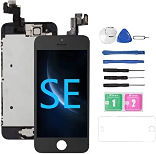 Drscreen for iPhone SE Screen Replacement [Black] 4.0, 5SE 3D Touch LCD Screen Display Digitizer Replacement Screen for A1723,A1662,A1724, Full Assembly with Camera, Earspeaker, w/Repair Tool Kit