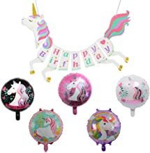 Unicorn Happy Birthday Banner with Mylar Foil Balloons - Unicorn Themed Party Decorations - For Girls Birthday Premium Unicorn Birthday Party Supplies