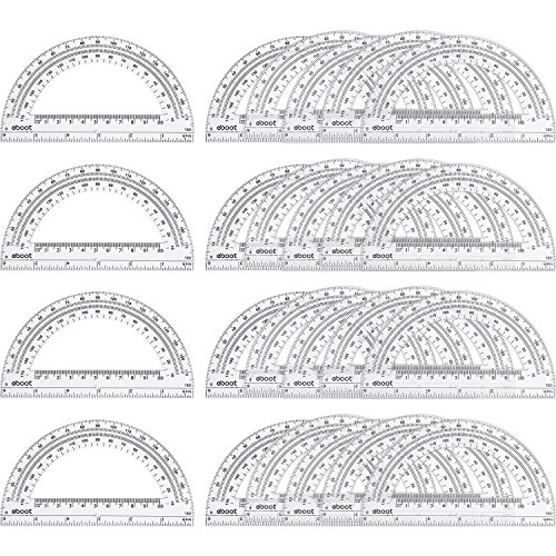 24 Pack Plastic Protractors Math Protractor 180 Degrees 6 Inch, Clear