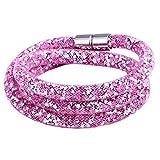 Morella Damen Strass Glitzer Wickelarmband oder Halskette mit Magnetverschluss rosa weiß