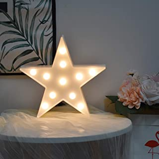 BuyWin Star Shaped Night Light LED Battery Powered Marquee Light Sign Plastic Table Wall Light Decor Pentagram Decoration ...