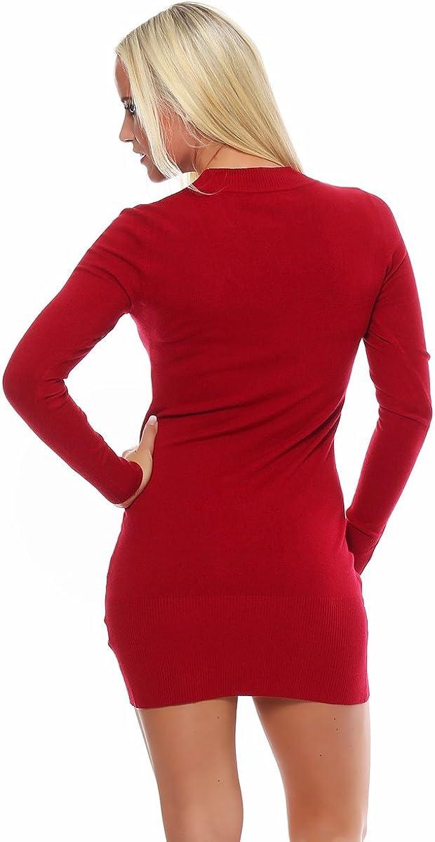 Fashion4Young 10280 Damen Feinstrick-Minikleid Dress Kleid V-Ausschnitt verfügbar 2 Farben 2 Größen Rot