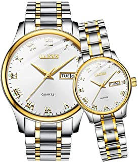 OLEVS Valentines Couple Pair Quartz Watches Luminous Calendar Date Window 3ATM Waterproof, Casual Stainless Steel His and ...