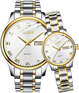 OLEVS Valentines Couple Pair Quartz Watches Luminous Calendar Date Window 3ATM Waterproof, Casual Stainless Steel His and Hers Wristwatch for Men Women Lovers Wedding Romantic Gift Set of 2