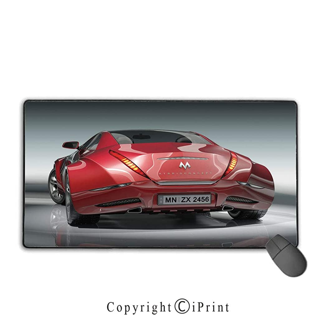 Game speed version medium cloth mouse pad,Cars,Red Sports Car Concept Design Realistic Powerful Engine Vehicle Speed Automobile,Red Black Gray,Ideal for Desk Cover, Computer Keyboard, PC and Laptop Mo