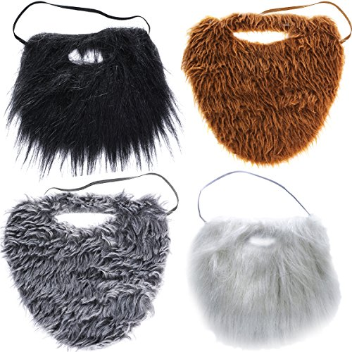 Tigerdoe Fake Beards for Adults Kids - Costume Accessories - Beard & Mustache - Fake Mustaches (4 Pack Costume Beards)