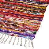 RAJRANG BRINGING RAJASTHAN TO YOU Alfombras de Trapo Grandes (150x215 cm) - Rectángulo de algodón Reciclado Tiras Alfombra de Trapo para el Dormitorio