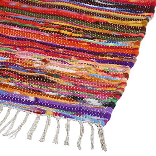 Chandi Rag Alfombra (50x80 cm) - 100% algodón Fresco Chandi Rag Boho Alfombra Tejida con Rayas Multicolores