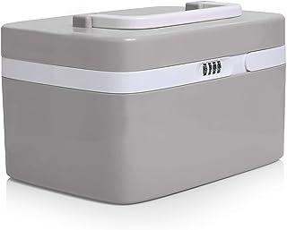 جعبه قفل دارویی برای ذخیره سازی داروی ایمن - سازمان دهنده بطری های ضد نسخه کودک - قفسه سینه قفل شونده (کد سفارشی 4 رقمی) کابینت پزشکی با محفظه های جداگانه | قفل ذخیره سازی