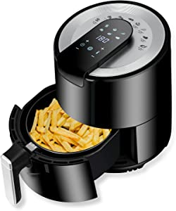 5.8 Quart Air Fryer, Electric Toaster Oven Air Fryer Combo, 6 in 1 Oilless Cooker Oven, Digital LED Touch Screen Dehydrator with 14 Recipes & Non-stick Basket for Baking, Frying, Roasting, Thawing