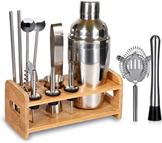 15 Piece Bartender Kit Cocktail Shaker Set with Stand: Home Bar Tools Set - Shaker with Strainer, Muddler, Jigger, Stand, Ice Thong and More - with Cocktail Recipes - Cocktail Shaker Stainless Steel