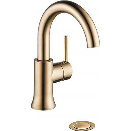 DELTA Trinsic Single Hole Bathroom Faucet, Gold Bathroom Faucet, Single Handle, Diamond Seal Technology, Drain Assembly, Champagne Bronze 559HA-CZ-DST