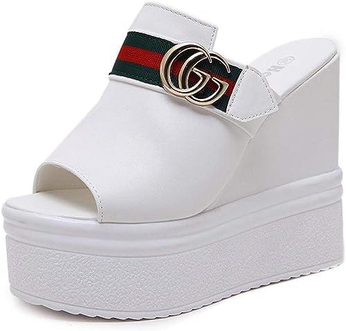 YAN Femmes Plate-Forme Pantoufles Peep Toe Toe Pantoufles & Tongs Boîte de Nuit Sexy compensées Chaussures Super Haut Talon Sandales Blanc Noir,blanc,39  économiser 60% de réduction