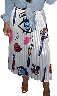 Women High Waist Elastic Waist Print A-Line Pleated Long Skirt