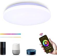 WiFi LED-plafondlamp, TASMOR slimme plafondlamp met Alexa en Google Home, APP-bediening, 18W 1800LM waterdichte instelbare...