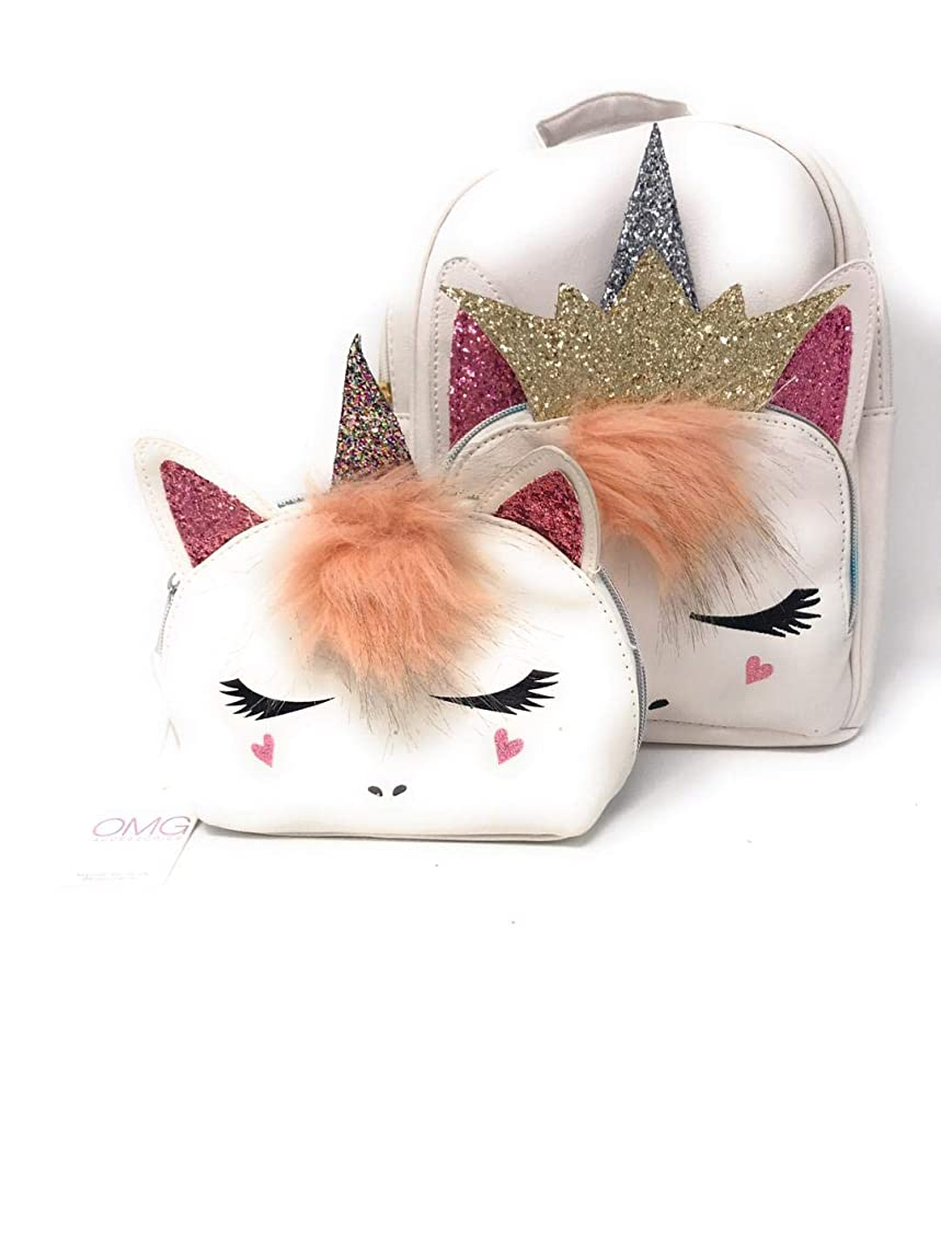 Unicorn Princess with Crown Backpack + Makeup Bag by OMG Accessories xammordpiowcah