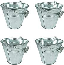 Mini Servier Eimer f/ür Party Knabbereien Ideale Silberne Eimer Dekoration pro St/ück 10,5 x 10,5 x 10,5 x 7,5 cm Eisbeh/älter 12 Kleine verzinkte Metalleimer