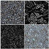 1/4 TILA 40 Grams, Miyuki Quarter Tila Bead Kit, 4 Colors, 10 Grams Each. Black, Matte Black, Metallic Gunmetal & Clear Transparent Rainbow AB.Two Hole Beads.