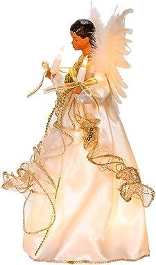 "Kurt S. Adler 10-Light 12"" Ivory and Gold Black Angel Treetop"