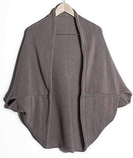 Mujeres Baggy Shawl Cardigan Mid-Length Bat Sleeve Sweater Coat Color sólido de Punto Tops Femeninos Irregular Prendas de Punto Primavera Otoño