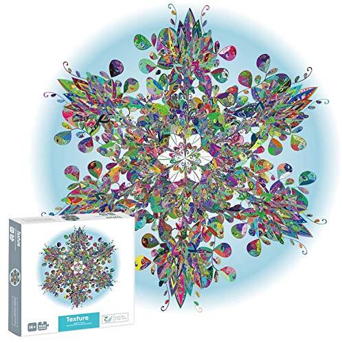 Foanerwi Puzzles Für Erwachsene Kid 1000 Stück, Runde Puzzles Kristallschneeflocken, Kreative Bunte Puzzles, Intelligenz-Puzzles, Puzzles Für Die Wanddekoration