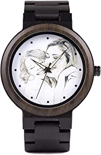 Personalized Custom Wooden Watch Photo Engraved Watches Mens Wood Handmade Natural Ebony Strap Wrist Watch with Wooden Gift Box for Men Husband Son Boyfriend and Family