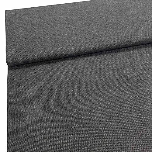 Kt KILOtela Tela de loneta resinada - para mantelería Antimanchas, Cojines, Bolsos - Retal de 150 cm Largo x 140 cm Ancho | Falso Liso Abany - Gris Plomo ─ 1,5 Metros