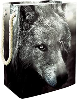 Vockgeng Loup Noir et Blanc Panier de Rangement Panier de Rangement imperméable Pliable de Jouets de Jouets de Panier avec...