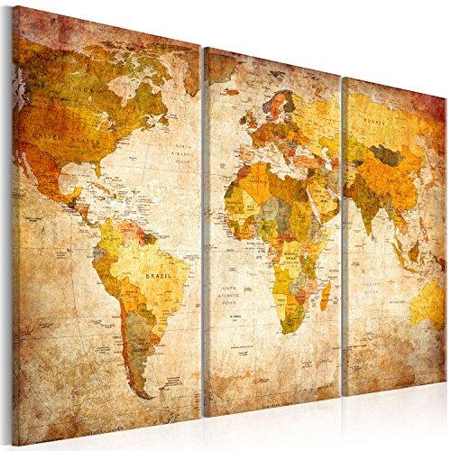 murando - Bilder 120x80 cm Vlies Leinwandbild 3 Teilig Kunstdruck modern Wandbilder XXL Wanddekoration Design Wand Bild - Dekorative Weltkarte Welt Karte Kontinente 020213-2