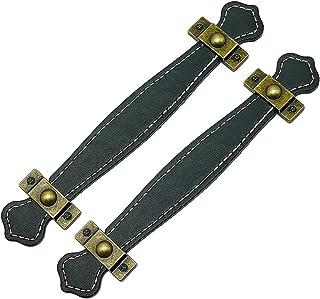 Negro Manija de Equipaje de Reemplazo Cuero Artificial Tirador de Gabinete Tir/ón de Puerta Armario para Hogar