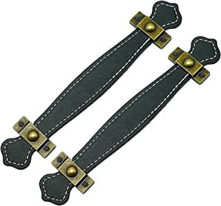 SUPVOX Lot de 2 poignées de tiroir en cuir Style rétro Poignées de valise Poignées de porte Noir