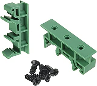 Penta Angel 5 Sets PCB DIN Rail Mounting Adapter Circuit Board Mounting Bracket Holder Carrier Clips, for 35mm, 15mm DIN rail (Green)