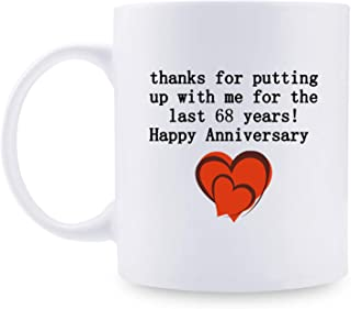 68th Anniversary Gifts - 68th Wedding Anniversary Gifts for Couple, 68 Year Anniversary Gifts 11oz Funny Coffee Mug for Couples, Husband, Hubby, Wife, Wifey, Her, Him, putting up with me