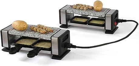Raclette Grill Pierre chaude 2 à 4 personnes Grill de table Grill électrique Câble de connexion (4 poêlons 700 W, revêteme...