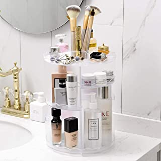 360 Degree Rotation Adjustable Makeup Storage Rack-Easy to Organize Cosmetics, Looks Elegant On The Bathroom Counter Or Dressing Table. Clear Design and Easy to View