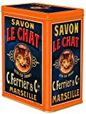 FRENCH VINTAGE DECORATIVE METAL BOX 12x8x15cm SAVON DE MARSEILLE LE CHAT SOAP