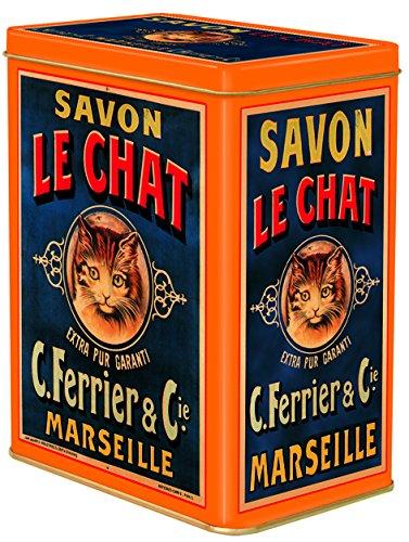 FRENCH VINTAGE DECORATIVE METAL BOX 12x8x15cm SAVON DE MARSEILLE LE CHAT SOAP