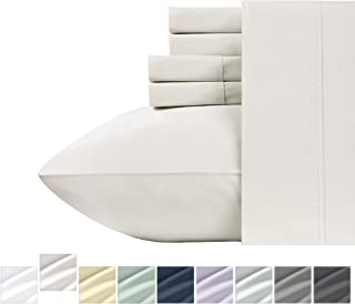 King Size Pure Cotton Sheets - Ivory 6 Piece Soft Bedding Set, 400 Thread Count Sateen Weave, Smooth Wrinkle Resistant Bed Sheets, Comfortable Deep Pocket Fits Mattress Upto 18 Inches