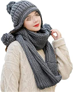 Women's Knit Cap Cap Hat Scarf Two-Piece Ear Protector Thicken Warm Wool Cap WZXSMDY (Color : Gray, Size : One Size)