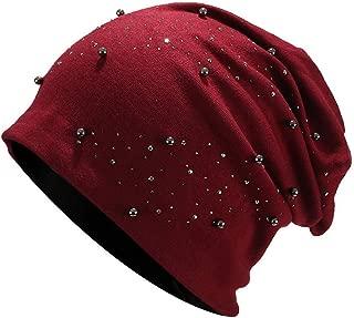 Sombreros de Mujer Cálida Suave con Perla Diadema Beanie Gorros de Punto Salvaje Simple Casuales Gorras para Mujeres Tamaño Universal Fannyfuny