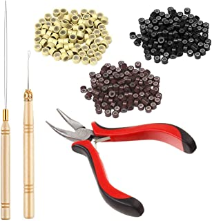 Borogo Hair Extension Kit Pliers Pulling Hook Bead Device Tool Kits and 1500 PCS Lined Micro Rings (Black, Blonde, Brown Beads) for Micro Ring Link Hair and Feather Extensions