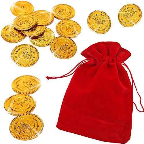 German Trendseller® - Piraten Gold - im Säckchen ┃ 32 Gold-Taler┃ Piraten Schatz ┃ Piraten Party ┃Seeräuber┃Schatzsuche ┃ Kindergeburtstag