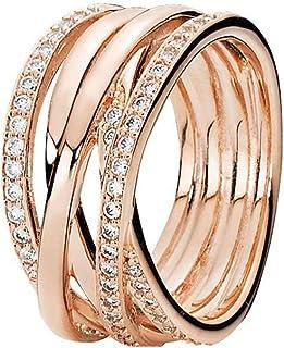 Pandora Women's Gold Plated Cubic Zirconia Rose Band Ring - 52 EU - 180919CZ-52